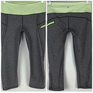 Lululemon | Gray & Lime Green Capri Leggings  4